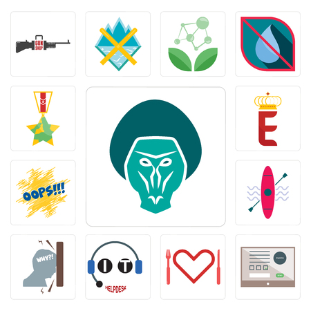 Set Of 13 simple editable icons such as baboon, online form, appetite, it helpdesk, frustration, kayak, oops, e crown, veteran can be used for mobile, web UI