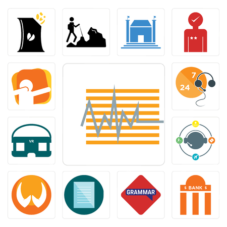 set of 13 simple editable icons such as tracker bank branch