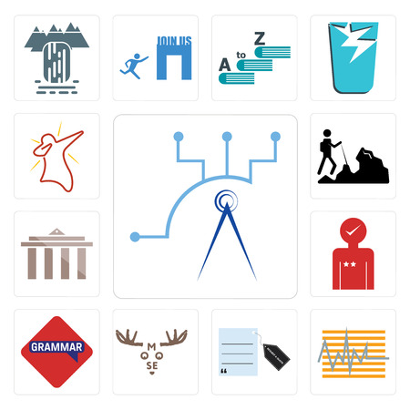 Set Of 13 simple editable icons such as telecom, tracker, request a quote, moose, grammar, customer experience, municipality, hiker, dab can be used for mobile, web UI