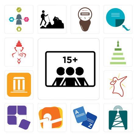 Set Of 13 simple editable icons such as number of players, cell tower, vocabulary, dab, adaptability, municipality, next steps, ganesh can be used for mobile, web UI