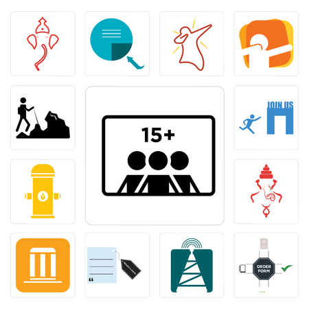 Set Of 13 simple editable icons such as number of players, order form, cell tower, request a quote, municipality, ganesh, fire hydrant, join us, hiker can be used for mobile, web UI