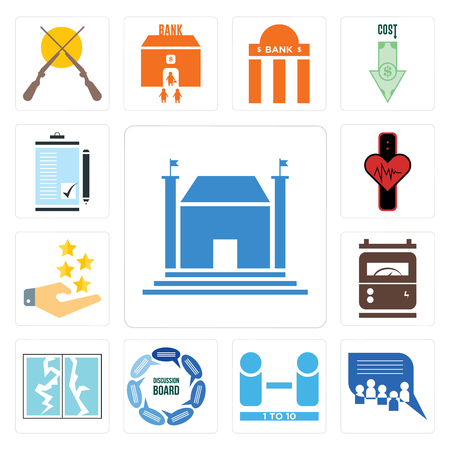 Set Of 13 simple editable icons such as municipal, discussion board, number of players, broken glass, electric meter, customer experience, tracker can be used for mobile, web UI