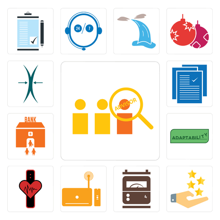 Set Of 13 simple editable icons such as advisor, customer experience, electric meter, set top box, tracker, adaptability, bank branch, specification, elastic can be used for mobile, web UI Ilustrace