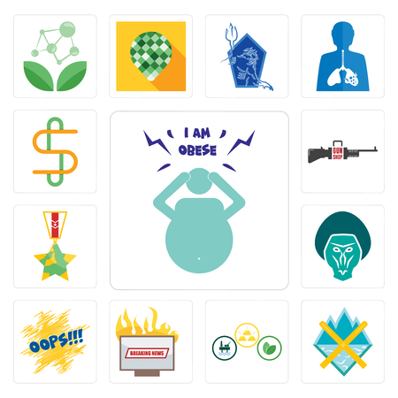 Set Of 13 simple editable icons such as obesity, crossed skis, commodities, breaking news, oops, baboon, veteran, gun shop, double s can be used for mobile, web UI Illusztráció