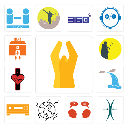 Set Of 13 simple editable icons such as folded hands, elastic, inquiry, earthquake, set top box, waterfall, tracker, shepherd, bank branch can be used for mobile, web UI