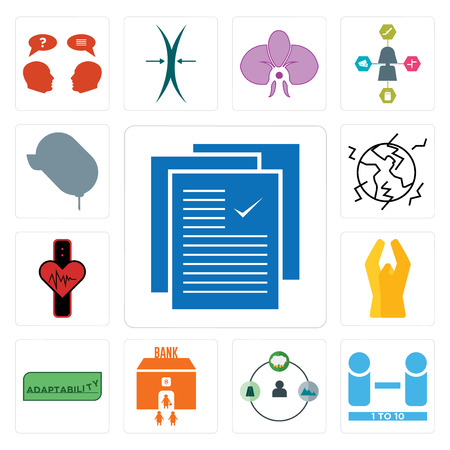 Set Of 13 simple editable icons such as specification, number of players, shepherd, bank branch, adaptability, folded hands, tracker, earthquake, car dealer can be used for mobile, web UI