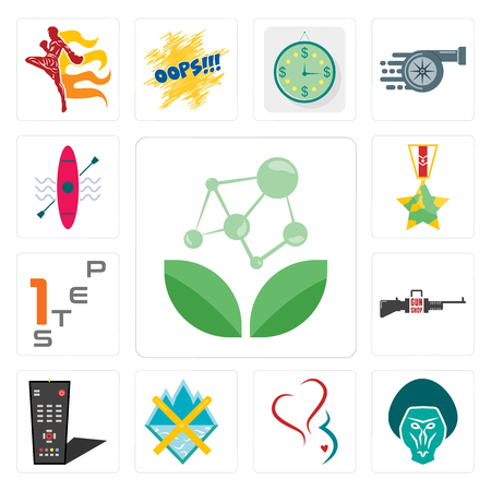Set Of 13 simple editable icons such as antioxidant, baboon, gynecology, crossed skis, tv remote, gun shop, step 1, veteran, kayak can be used for mobile, web UI