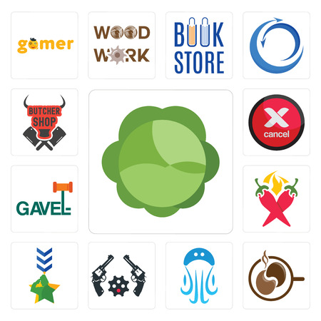 Set Of 13 simple editable icons such as cabbage, coffe, jellyfish, revolver, military, chili pepper, gavel, cancel, butcher shop can be used for mobile, web UI