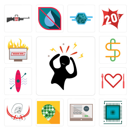 Set Of 13 simple editable icons such as panic, sem, online form, pine cone, pirate, appetite, kayak, double s, breaking news can be used for mobile, web UI
