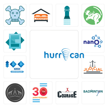 Set Of 13 simple editable icons such as hurrican, badminton, courage, 30 anniversary, tiara, judicial, 100 year nano, statement can be used for mobile, web UI