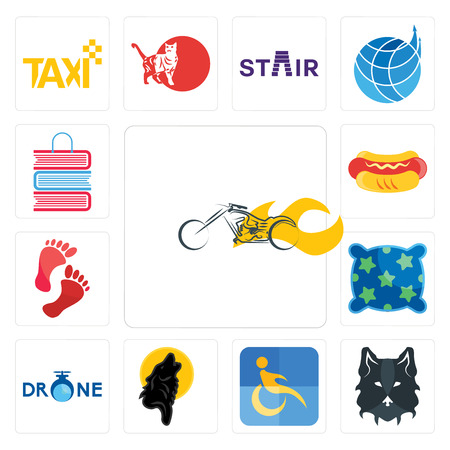 Set Of 13 simple editable icons such as chopper, wolf face, disability, black wolf, , pillow, foot print, hot dog, book shop can be used for mobile, web UI