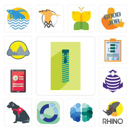Set Of 13 simple editable icons such as zipper, rhino, free brain, sector, service dog, purple cobras, login screen, action plan, montain can be used for mobile, web UI 矢量图像