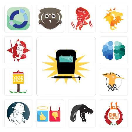 Set Of 13 simple editable icons such as welding, chili cook off, mamba, good bad, free detective, hoopoe, yard sale, brain, spartan can be used for mobile, web UI