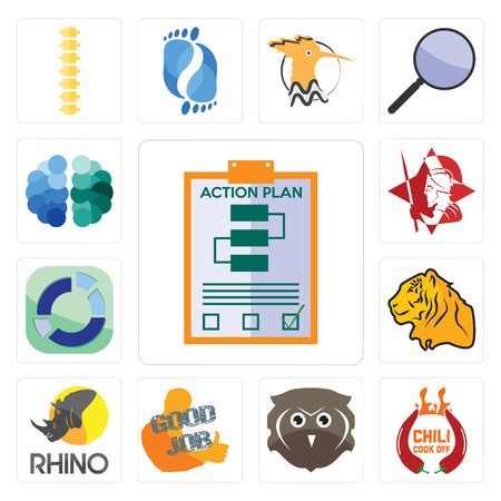 Set Of 13 simple editable icons such as action plan, chili cook off, free owl, good job, rhino, tiger, sector, spartan, brain can be used for mobile, web UI