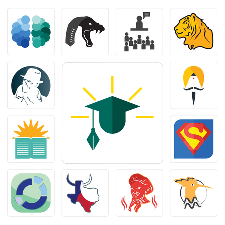 Set Of 13 simple editable icons such as education, hoopoe, , made in texas, sector, s, sunday school, sikh, free detective can be used for mobile, web UI Illusztráció