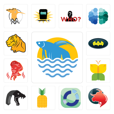 Set Of 13 simple editable icons such as betta fish, taurus professional, sector, pinapple, mamba, buterfly, , bat, tiger can be used for mobile, web UI