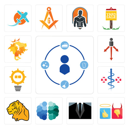 Set Of 13 simple editable icons such as tidy, good bad, dress code, free brain, tiger, registe nurse, problem management, approach, de can be used for mobile, web UI