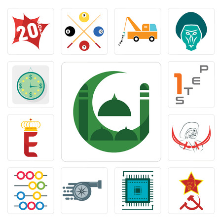 Set Of 13 simple editable icons such as masjid, communism, sem, turbo, abacus, pirate, e crown, step 1, estimate can be used for mobile, web UI
