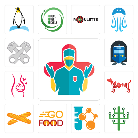 Set Of 13 simple editable icons such as surgeon, digital tree, chemical company, go food, baguette, year of the dog, pregnancy, train station, piston log can be used for mobile, web UI Illustration