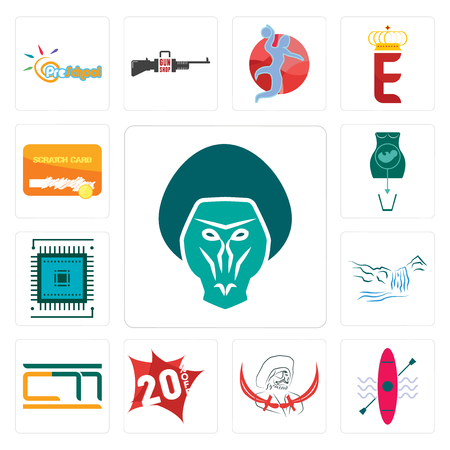 Set Of 13 simple editable icons such as baboon, kayak, pirate, 20% off, , waterfall, sem, abortion, scratch card can be used for mobile, web UI Ilustração