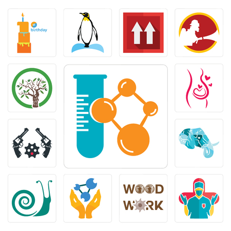 Set Of 13 simple editable icons such as chemical company, surgeon, woodwork, chemist, snails, elephant head, revolver, pregnancy, olive tree can be used for mobile, web UI