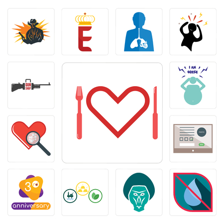 Set Of 13 simple editable icons such as appetite, no water, baboon, commodities, 3rd anniversary, online form, cholesterol, obesity, gun shop can be used for mobile, web UI