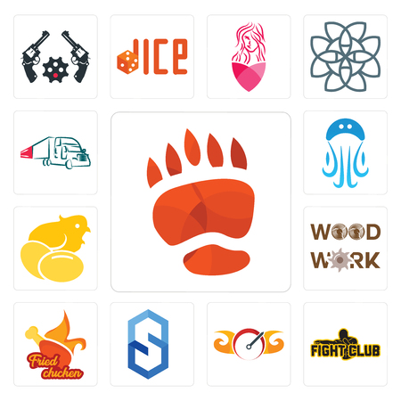 Set Of 13 simple editable icons such as bear paw, fight club, speedometer, s hexagon, fried chicken, woodwork, chick, jellyfish, truck company can be used for mobile, web UI
