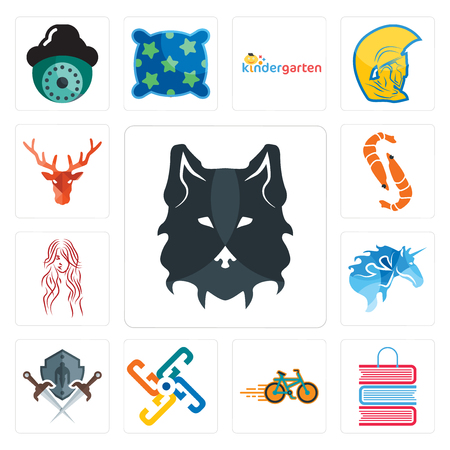 Set Of 13 simple editable icons such as wolf face, book shop, bike generic, shield and sword, , long hair, shrimp, deer head can be used for mobile, web UI