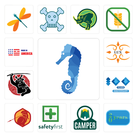 Set Of 13 simple editable icons such as sea horse, 20 year, camper, safety first, sparta, 100 year anniversary, , lux, made in america can be used for mobile, web UI