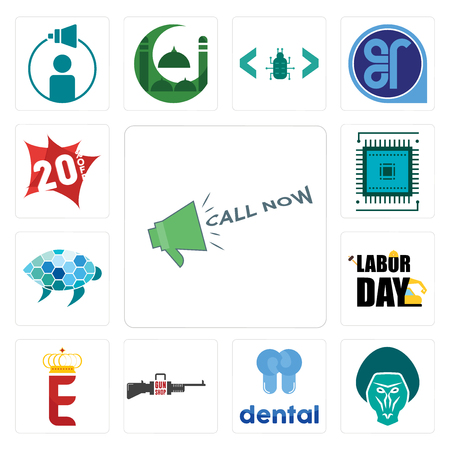 Set Of 13 simple editable icons such as call now, baboon, dental, gun shop, e crown, labor day, sea turtle, sem, 20% off can be used for mobile, web UI
