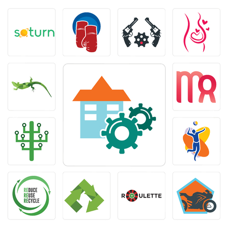 Set Of 13 simple editable icons such as facility, motorcycle shop, roulette, recycle, uce reuse volleyball team, digital tree, virgo, lizard can be used for mobile, web UI