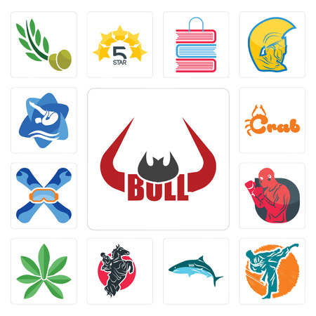 Set Of 13 simple editable icons such as bull horn, martial arts, , equestrian, pot leaf, boxer, snowboard, crab, swim and dive can be used for mobile, web UI