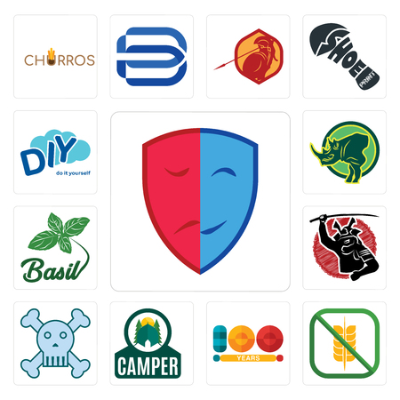 Set Of 13 simple editable icons such as drama, gluten free, 100 year, camper, skull and crossbones, , basil, rhino, diy can be used for mobile, web UI