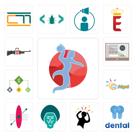 Set Of 13 simple editable icons such as handball, dental, panic, baboon, kayak, preschool, order management, online form, gun shop can be used for mobile, web UI