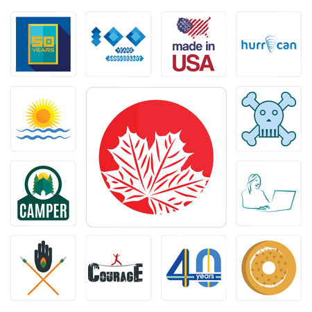 Set Of 13 simple editable icons such as canadian leaf, bagel, 40 years, courage, tribe, secretary, camper, skull and crossbones, rising sun can be used for mobile, web UI
