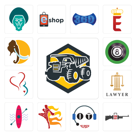 Set Of 13 simple editable icons such as dump truck, gun shop, it helpdesk, muay thai, kayak, lawyer, gynecology, 8 ball pool, mammoth can be used for mobile, web UI Illusztráció