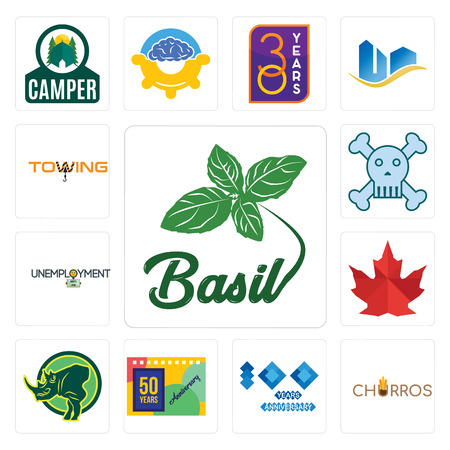 Set Of 13 simple editable icons such as basil, churros, 100 year anniversary, 50 years rhino, canada leaf, unemployment, skull and crossbones, towing can be used for mobile, web UI Illustration