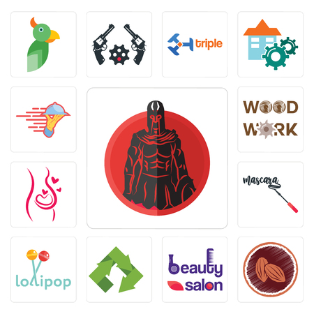 Set Of 13 simple editable icons such as spartan, cacao, beauty salon, recycle, lollipop, mascara, pregnancy, woodwork, catering services can be used for mobile, web UI Ilustrace