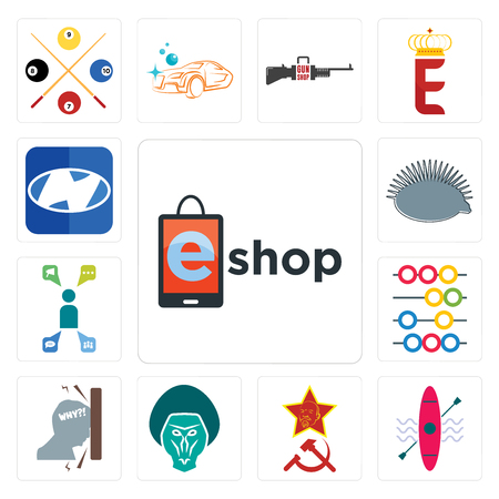 Set Of 13 simple editable icons such as eshop, kayak, communism, baboon, frustration, abacus, campaign management, hedgehog, h can be used for mobile, web UI