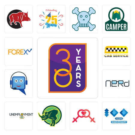 Set Of 13 simple editable icons such as 30 year, 100 year anniversary, lesbian, rhino, unemployment, nerd, helpdesk, cab service, can be used for mobile, web UI Banque d'images - 102072354