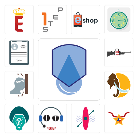 Set Of 13 simple editable icons such as waterproof, texas star, kayak, it helpdesk, baboon, mammoth, frustration, gun shop, personal details can be used for mobile, web UI  イラスト・ベクター素材