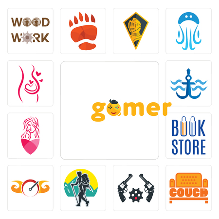 Set Of 13 simple editable icons such as gamer, couch, revolver, trekking, speedometer, book store, salon, navy anchor, pregnancy can be used for mobile, web UI