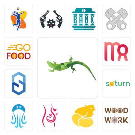 Set Of 13 simple editable icons such as lizard, woodwork, chick, pregnancy, jellyfish, saturn, s hexagon, virgo, go food can be used for mobile, web UI
