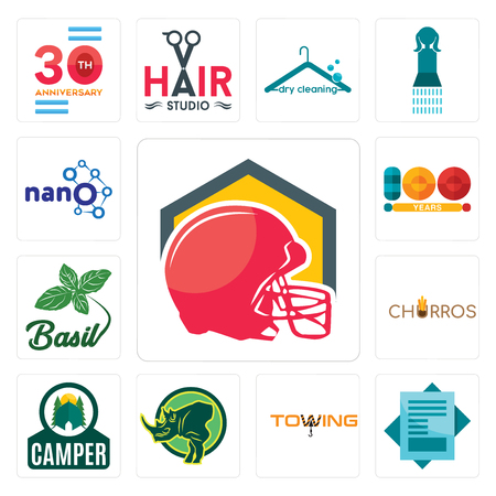 Set Of 13 simple editable icons such as football helmet, statement, towing, rhino, camper, churros, basil, 100 year, nano can be used for mobile, web UI