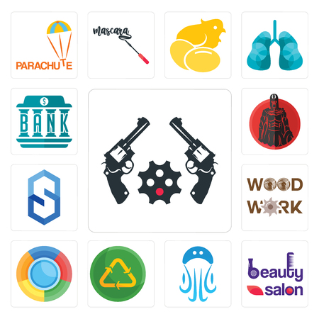 Set Of 13 simple editable icons such as revolver, beauty salon, jellyfish, recycle reuse uce, , woodwork, s hexagon, spartan, bank can be used for mobile, web UI