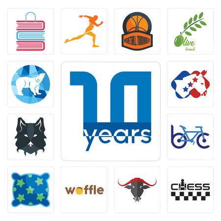 Set Of 13 simple editable icons such as 10 year, chess, , waffle, pillow, bike club, wolf face, democrat, polar can be used for mobile, web UI Иллюстрация