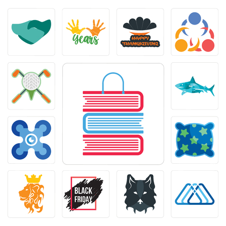 Set Of 13 simple editable icons such as book shop, 3 triangle, wolf face, black friday sale, royal lion, pillow, drones, sharks, golf tournament can be used for mobile, web UI Ilustração