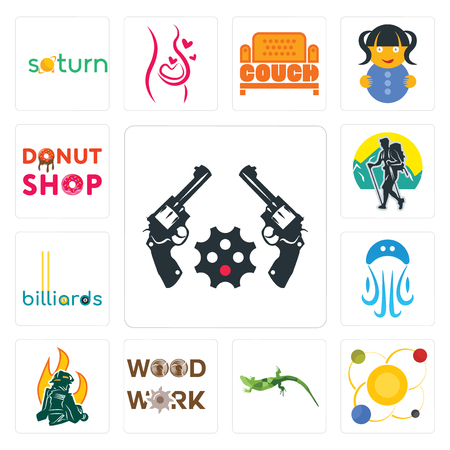Set Of 13 simple editable icons such as revolver, solar system, lizard, woodwork, firemen, jellyfish, billiards, trekking, donut shop can be used for mobile, web UI
