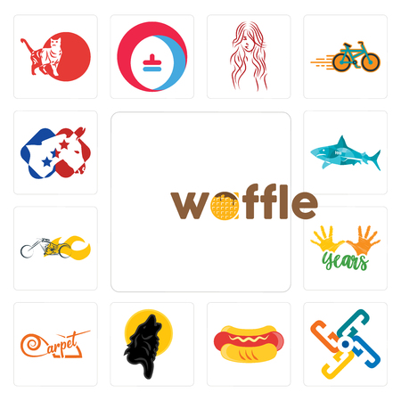 Set Of 13 simple editable icons such as waffle, generic, hot dog, black wolf, carpet, 10 years, chopper, sharks, democrat can be used for mobile, web UI