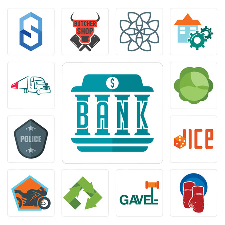 Set Of 13 simple editable icons such as bank, boxing gloves, gavel, recycle, motorcycle shop, dice, police badge, cabbage, truck company can be used for mobile, web UI